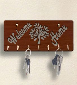 Pepperfry- Buy Brown Welcome Home Wooden 7 Hooks Key Holder at Rs 129