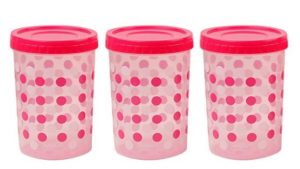 Ratan E-ZEE Lock Polka Design Plastic Container Set, 2 Litres, Set of 3, Pink at rs.167