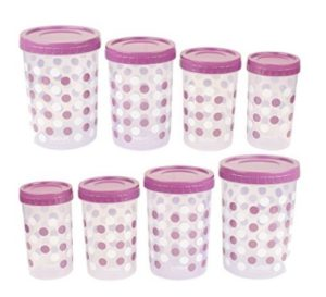 Ratan E-ZEE Lock Polka Design Plastic Container Set, 8-Pieces at rs.249