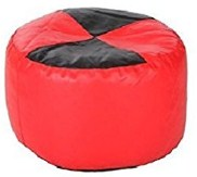Sattva Round Footstool Cover Red Brown