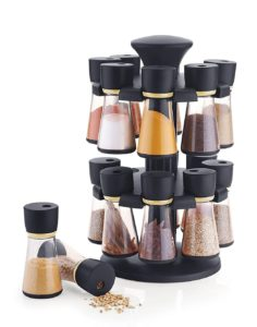 Amazon - Buy Floraware Plastic Revolving Spice Rack Set, 70ml, Set of 16, Black  at Rs 541 only