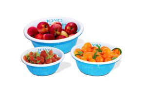 Amazon - Buy Joyo Fruit Loop 3 Piece Polypropylene Basket Set, Blue at Rs 101