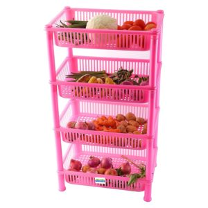 Amazon - Buy Novicz Plastic 4-Layer Cutlery Rack, Pink at Rs. 523