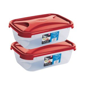 Amazon - Buy Wham Cuisine Rectangular Food Storage Plastic Box Container, 1.6 Litre, 2 Pcs Set, Red  at Rs 251
