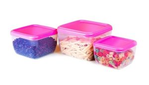 Cello Fabby Square Container Set, 3-Pieces, Pink at rs.134