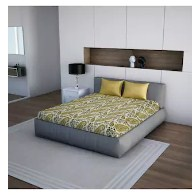 Core Designed By Spaces 100% Cotton Yellow Double Bed Sheet With 2 Pillow Covers