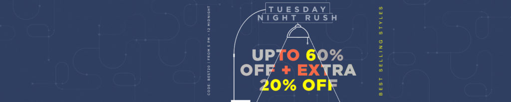 Jabong Tuesday Night Rush - Get upto 60% off on Lifestyle Products + Extra 20% off + Extra 10% cashback
