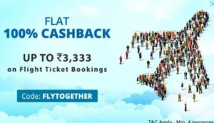 Paytm- Get Flat Rs 3333 cashback on booking four flight tickets (No minimum Booking)