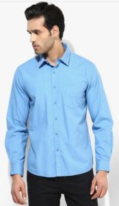 Solid Slim Fit Denim ShirtBlue Solid Slim Fit Denim Shirt