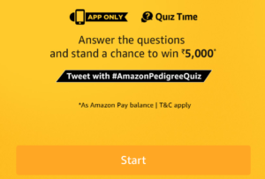 amazon pedigree quiz time win Rs 5000 pay balance 5 questions dealnloot 3rd june