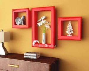 Amazon- Buy Home Sparkle Wooden Wall Shelves with Frames (Set of 3, Red) at Rs 611