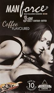 Amazon - Buy Manforce 3 in 1 Ribbed Contour Condom - 10 Pieces (Pack of 8, Coffee)  at Rs 321