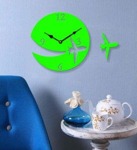 Amazon- Buy Sehaz Artworks Aeroplane Green Wood Wall Clock at Rs 198
