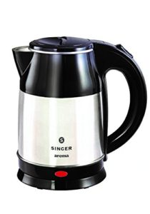 Amazon - Buy Singer Aroma 1500 Watts 1.8 LTR Electric Kettle with Cordless Base & Overheat Protection (Black & Silver) at Rs 1299 only
