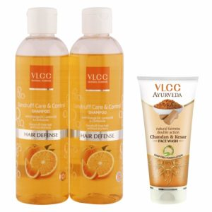 Amazon - Buy VLCC Dandruff Control Shampoo (Buy 1 Get 1) and Kesar Chandan Face Wash Combo at Rs 197 only