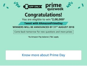 Amazon Prime Quiz Week (Quiz 5) - Start