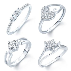 Amazon Sukkhi Incredible Rhodium Plated Set Of 4 CZ Ring at Rs 136