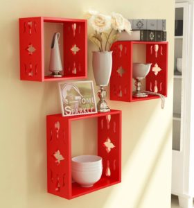 Home Sparkle Sh688 Wall Shelf, Set of 3 (Lacquer Finish, Red)