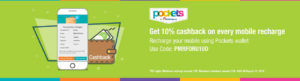 ICICI Pockets- Get flat 10% cashback on your mobile Recharge