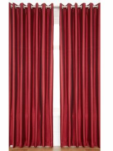 PINDIA Eyelet Polyester Window Curtain - 5ft, Maroon