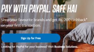 paypal rs 200 cashback