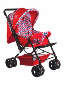 Amazon- Buy Mee Mee Comfortable Pram with 3 Seating Position, Checks, Red at Rs 2674