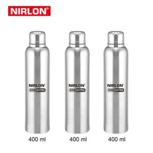 Amazon - Buy Nirlon Stainless Steel Bottle Set, Set of 3, Silver (F_Bottle_3_400ML) at Rs 318