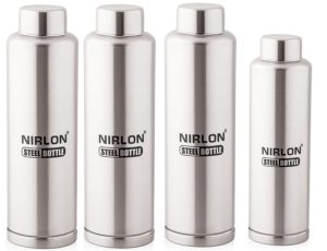 Amazon- Buy Nirlon Stainless Steel Water Bottle Set, 4-Pieces, (FB_1000_1000_1000_650) at Rs 764