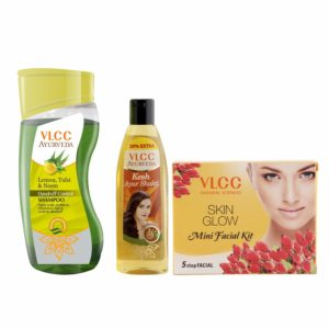 Amazon - Buy VLCC Ayurveda Dandruff Control Shampoo, Ayurveda Hair Oil and Facial Kit Combo  at Rs 117.5