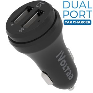 Amazon - Buy iVoltaa 2.4A Dual Port Car Charger - Black at Rs. 199