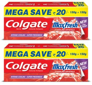 Amazon Colgate Maxfresh Spicy Fresh Red Gel Toothpaste - 300 g (Pack of 2)