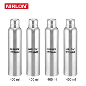 Amazon Nirlon Stainless Steel Water Bottle Set, 4-Pieces, Silver