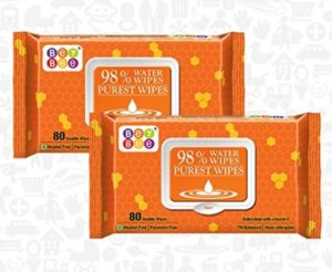 Bey Bee Hypoallergenic Baby Water Wipes for New Born Babies Sensitive Skin, 80 Wipes (Pack of 2) at rs.171
