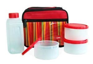 Cello Go 4 Eat Plastic Container Set, 4-Pieces, Red at rs.247