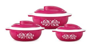 Cello Hot Serve Plastic Casserole Set, 3-Pieces, Pink at rs.549
