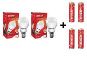 Eveready 10W LED Bulb Pack of 2 with Free 4 Batteries  (White, Pack of 2) atr rs.149
