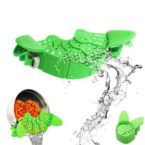 LMS Foldable Snap Rubber Strainer, Green