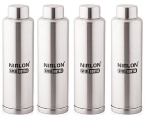 Nirlon Stainless Steel Water Bottle Set, 4-Pieces, Silver at rs.612
