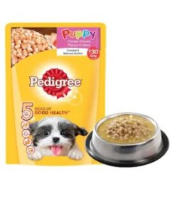 Pedigree Gravy Puppy Dog Food Chicken chunks in gravy 80 g at re.1