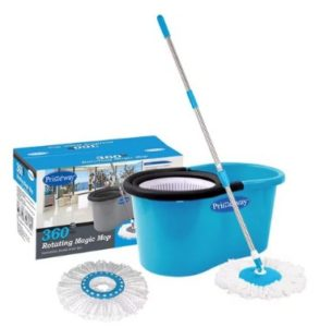 Primeway 360 Degree Rotating Blue & White 5500 ML Magic Spin Mop Set with 2 Microfibre Mop Heads