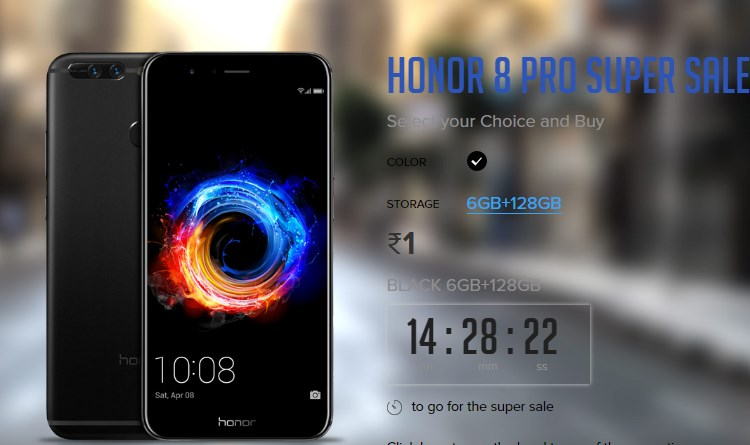 honor 8 flash sale at re.1