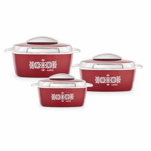 Amazon- Buy Cello Crown Plastic Casserole Set, 3-Pieces at Rs 843
