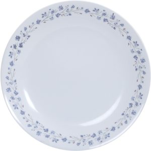 Amazon- Buy Corelle Lilac Blush Glass Dinner Glass Plate Set, Set of 6, White and Blue at Rs 999