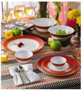 Diva Sovrana Ameerah Red Opal Ware Dinner Set - Set of 33 by La Opal