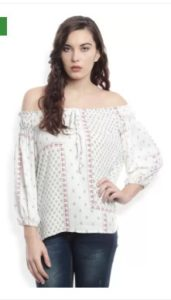 People Casual Full Sleeve Printed Women's White Top