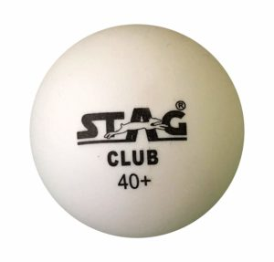 Stag Club-W Plastic Table Tennis Ball, 40mm Pack of 6 (White)