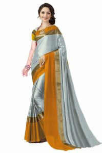 Amazon- Buy Art Decor Sarees Women's Silver Cotton Silk Saree With Blouse Piece at Rs 199
