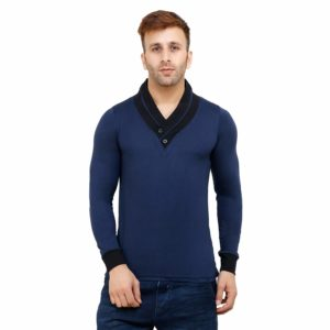Amazon - Buy Self Design V-Neck Stylish Navy Blue Solid Cotton T-Shirt for Men at Rs. 199