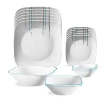Corelle Square Round Livingware Rain Drops 21 Pcs Dinner Set