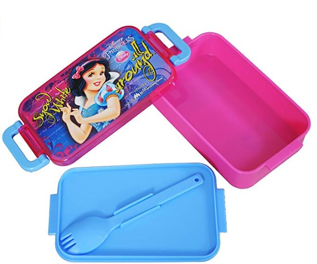 Disney Snow White Plastic Lunch Box Set, 450ml, 3-Pieces, Pink/Blue at rs.137